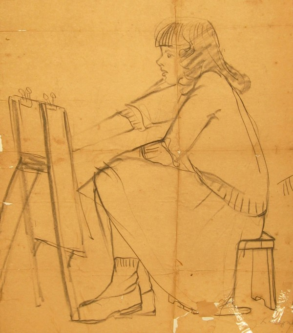 Drawing of my Mom by an unknown RISD classmate, mid 1940's