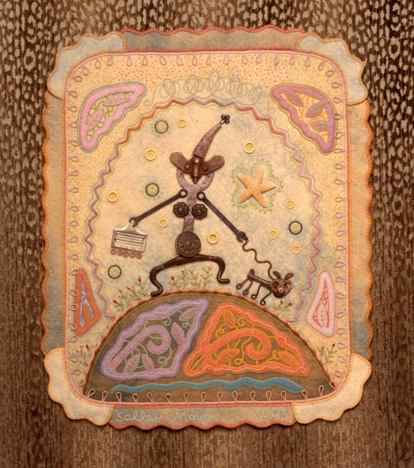"""Walking the Dog"", fabric relief by Salley Mavor 2005, 20"" x 23"""