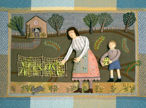 """Picking Peas"" fabric relief 1986"