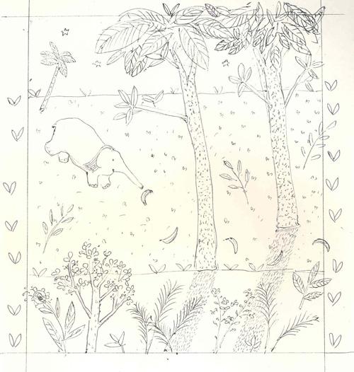 early sketch of Savi following banana trail