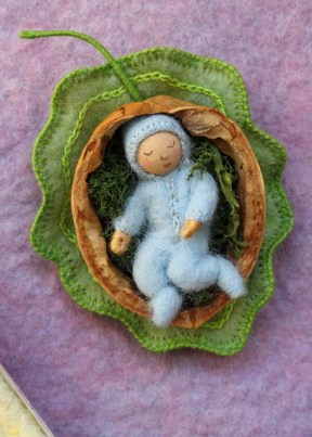 Card - baby in walnut shell
