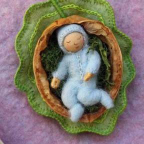 Card - baby in walnut shell