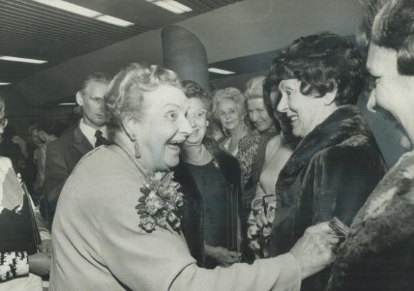 CANADA - NOVEMBER 30: Grande Dame of Canadian theatre; Mrs. Dora Mavor Moore (left) chats with Mrs. Frank V.C. Hewett at St. Lawrence Centre Town Hall last night where testimonial was held for Mrs. Moore. Friends and professional actors paid tribute to lady who singlehandedly has done more than any other for Canadian theatre. She was a moving force behind Stratford Festival and inspired actors. (Photo by Dick Darrell/Toronto Star via Getty Images)